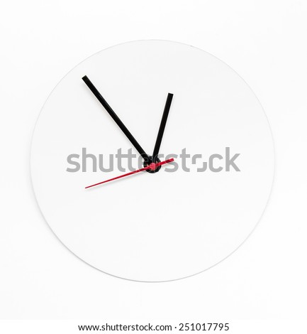 abstract white clock on isolated background - stock photo