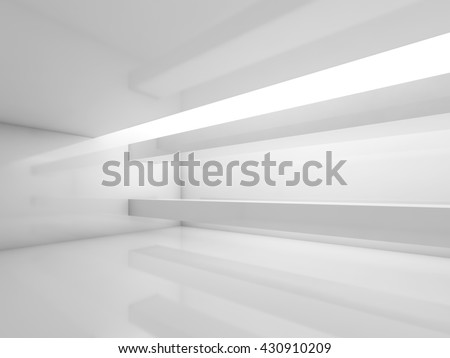 Abstract white contemporary interior, empty room with soft illumination. Digital 3d illustration, computer graphic