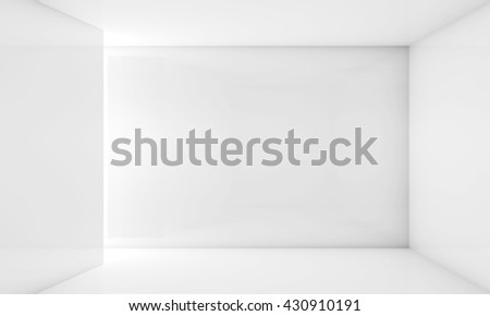 Abstract white contemporary interior, frontal view of an empty room with soft illumination. Digital 3d illustration, computer graphic