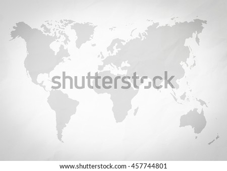 Abstract white crumpled paper or recycle paper backgrounds with world map in black tone Vignette effect concept. - stock photo