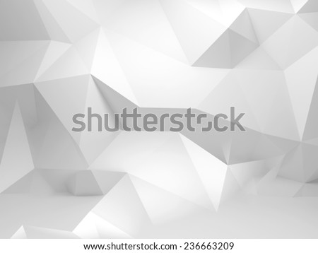 Abstract white 3d background with polygonal pattern on the wall - stock photo