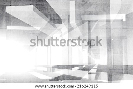 Abstract white 3d interior perspective background illustration - stock photo