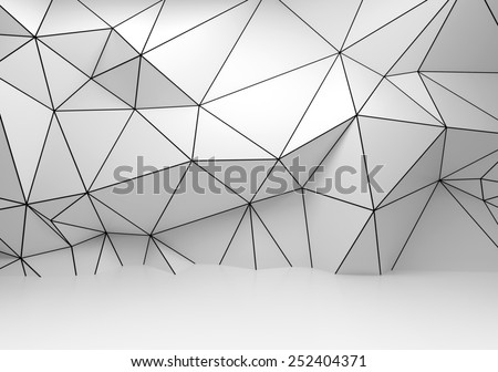Abstract white 3d interior, polygonal wireframe relief pattern on the wall - stock photo