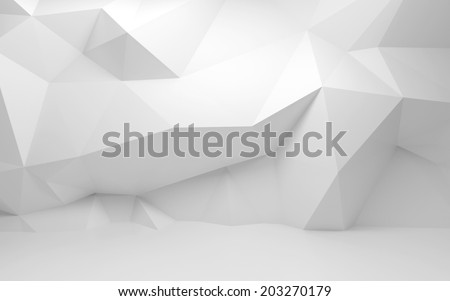 Abstract white 3d interior with polygonal pattern on the wall - stock photo