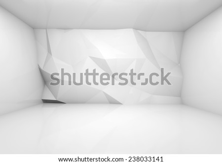 Abstract white 3d interior with polygonal relief pattern on frontal wall - stock photo