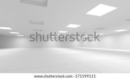 Abstract white 3d interior with square lights - stock photo