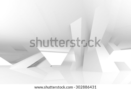Abstract white digital architecture background, 3d render illustration - stock photo