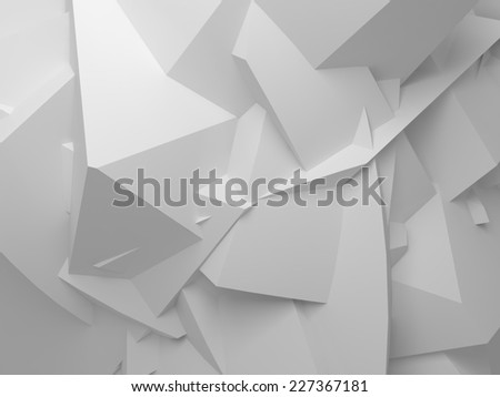 Abstract white digital 3d chaotic polygonal surface background texture - stock photo