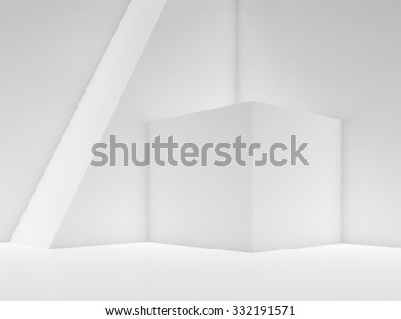 Abstract white empty interior background with simple geometric shapes in a corner and soft illumination, 3d illustration - stock photo