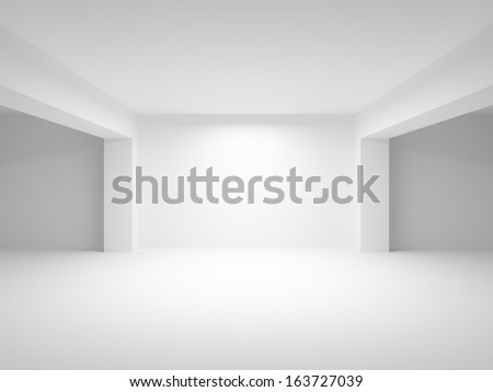 Abstract white empty interior perspective background. 3d illustration - stock photo