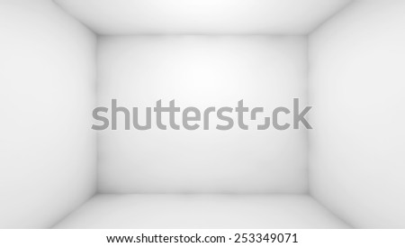 Abstract white empty room interior. Front view, 3d render illustration - stock photo