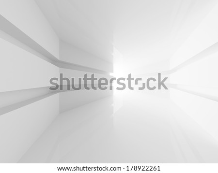 Abstract white empty room interior with glowing doorway. 3d render
