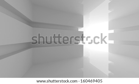 Abstract white empty room interior with glowing doorway. 3d render illustration - stock photo