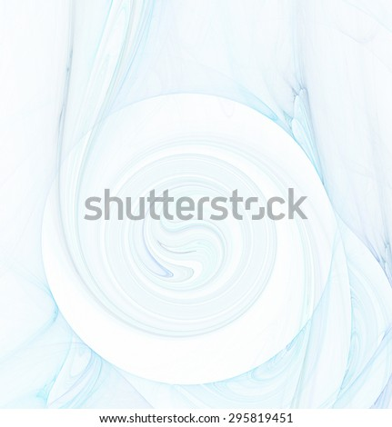 Abstract white fractal background with blue and turquoise colored water or smoke spiral texture - stock photo