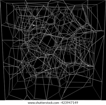 abstract white fractal geometry on black  background - stock photo