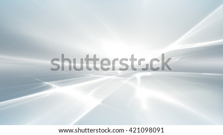 abstract white futuristic background with fractal horizon - stock photo