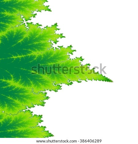 Abstract white green environmental background with fractal plant leaf shape - stock photo