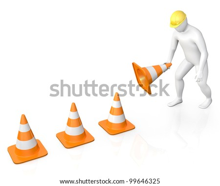 Abstract white guy places road cones, isolated on white background - stock photo