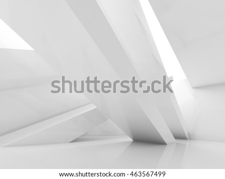Abstract white interior background, empty room with beams and soft illumination. Digital 3d illustration, computer graphic