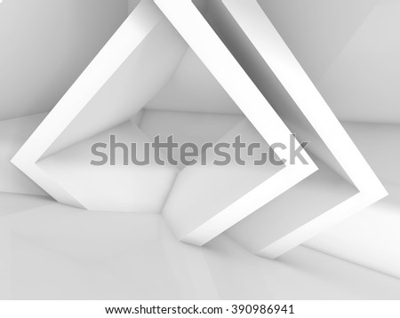 Abstract white interior design with cubic structures. Empty architecture background, 3d illustration - stock photo