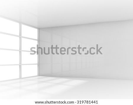 Abstract white interior, empty room with window. 3d render illustration - stock photo