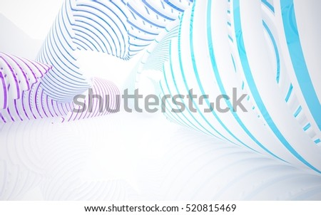 Abstract white interior of the future in a minimalist style, consisting of structure pink and blue arcs.. Architectural background. 3D illustration. 3D rendering