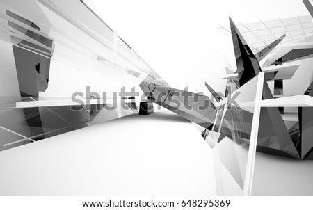 Abstract white interior of the future, with glossy black sculpture. 3D illustration and rendering
