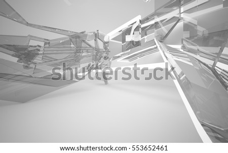Abstract white interior of the future, with neon lighting and glass. 3D illustration and rendering