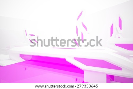 Abstract white interior with purple accents