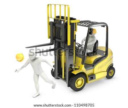 Abstract white man was hit by lift truck fork, due to safety violation, isolated on white background - stock photo