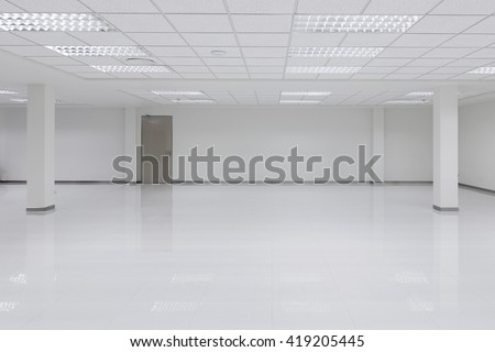 Abstract white office 3d interior with square lights - stock photo