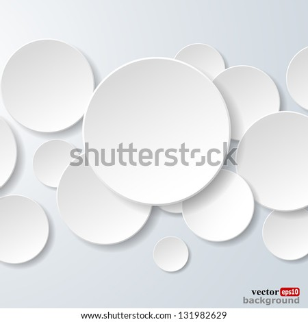 Abstract white paper circles on light blue background. Raster copy of vector illustration