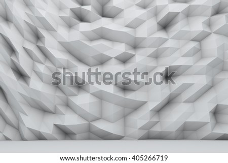 Abstract white polygonal wall 3D render. - stock photo