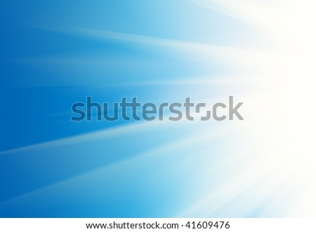 Abstract white rays over blue sky background.