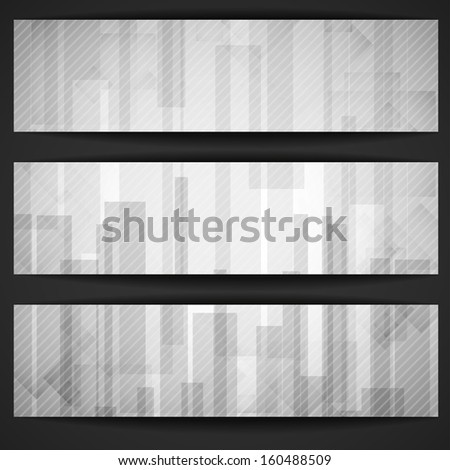Abstract White Rectangle Shapes Banner. - stock photo