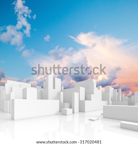 Abstract white schematic 3d cityscape, square composition with natural bright cloudy sky on a background - stock photo