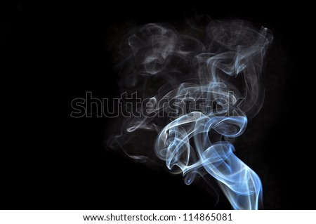 Abstract white smoke isolated on black