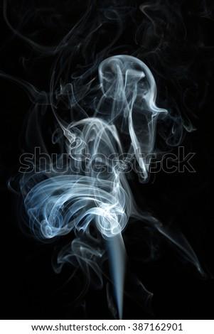 abstract white smoke on black - stock photo