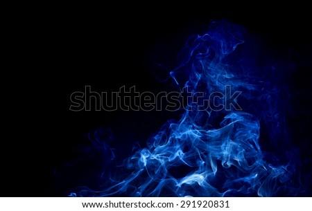 abstract white smoke on black background, smoke background ,blue smoke background, blue ink - stock photo