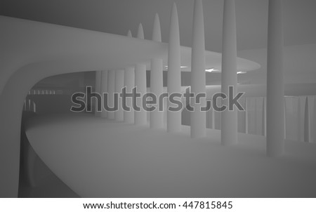 Abstract white smooth interior with future columns and lights in the form of stars. Architectural background. 3D illustration. 3D rendering