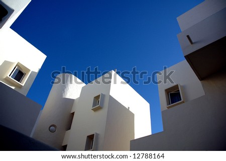 abstract white spanish architecture - stock photo