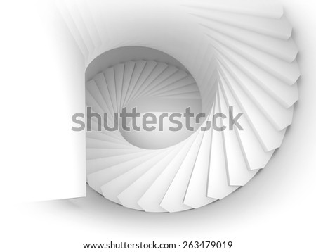 Abstract white spiral interior perspective with stairs. 3d render illustration - stock photo