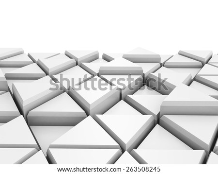Abstract White Triangle Blocks Background. 3d Render Illustration - stock photo