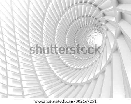 Abstract White Tunnel Hole Background. 3d Render Illustration