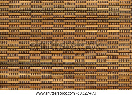 abstract wicker background with brown stitches - stock photo