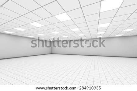 Abstract wide empty office room interior with white walls, ceiling illumination and floor tiling, 3d illustration - stock photo