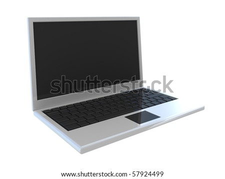 Abstract widescreen laptop isolated on white
