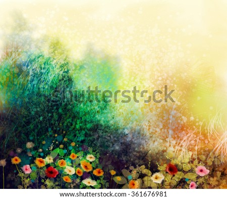 Abstract wildflowers, watercolor painting flower in meadows. Hand paint White, Yellow, Pink, Red, daisy gerbera flowers on yellow green grunge color texture background. Spring flower nature background - stock photo