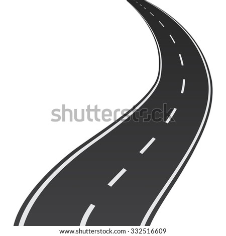Abstract winding road on a white background - illustration