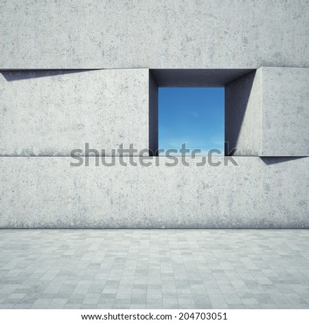 Abstract window in concrete blocks - stock photo
